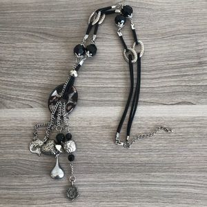 Long statement necklace with Glass pendant
